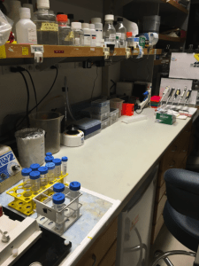 "Where the magic happens. Emma describes her lab bench as pictured as the ""cleanest it's ever been""."